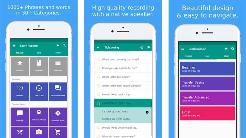 Simply Learn Russian App Screens