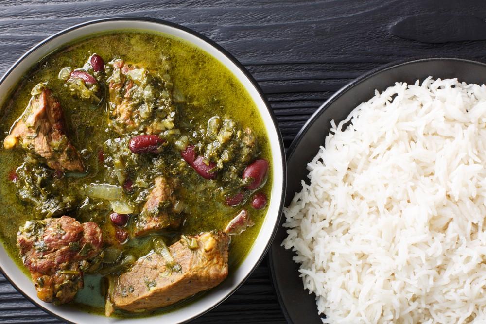 Persian food Ghorme Sabzi