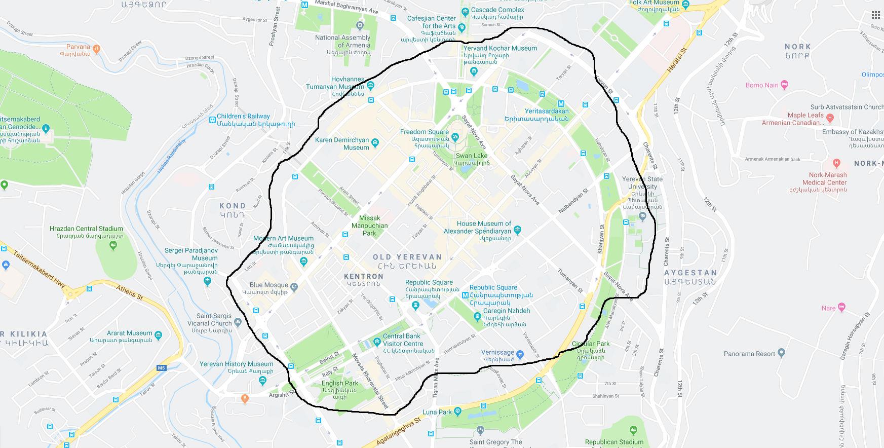 Map of Yerevan center
