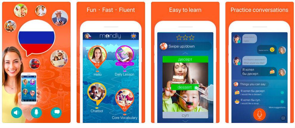 Learn Russian: Language Course App Screens
