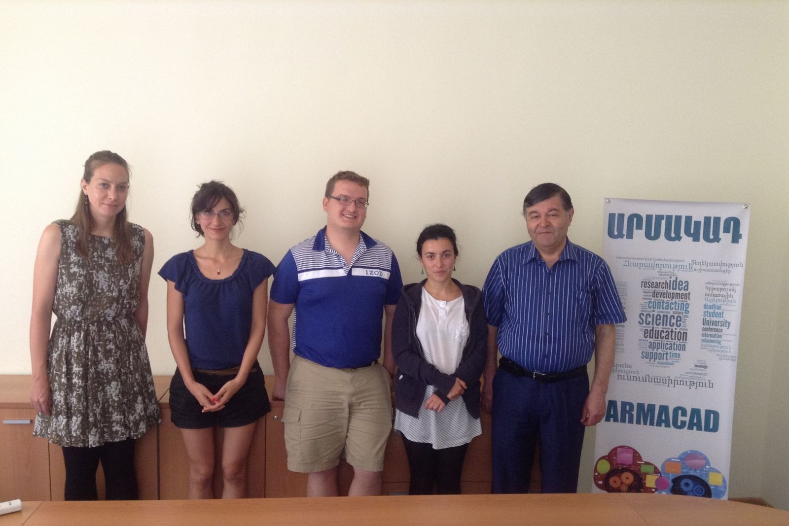2014 Armenian Studies summer school participants (from left to right) Alysin Wharton, Monika Manishak, Erin Blankenship and Melanya Hamasyan with Prof. Hayrapet Margaryan