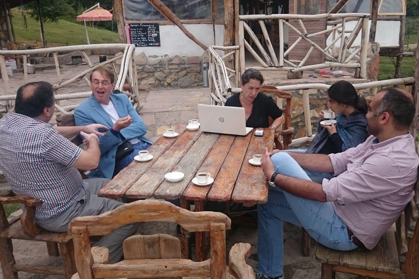 From left to right: Professor Artsruni Sahakyan, participants of Armenian Studies summer school 2015 Rene Bekius and Yana Tchekhanovets, instructor of Armenian language Sona Mnatsakanyan and Gevorg Muradyan