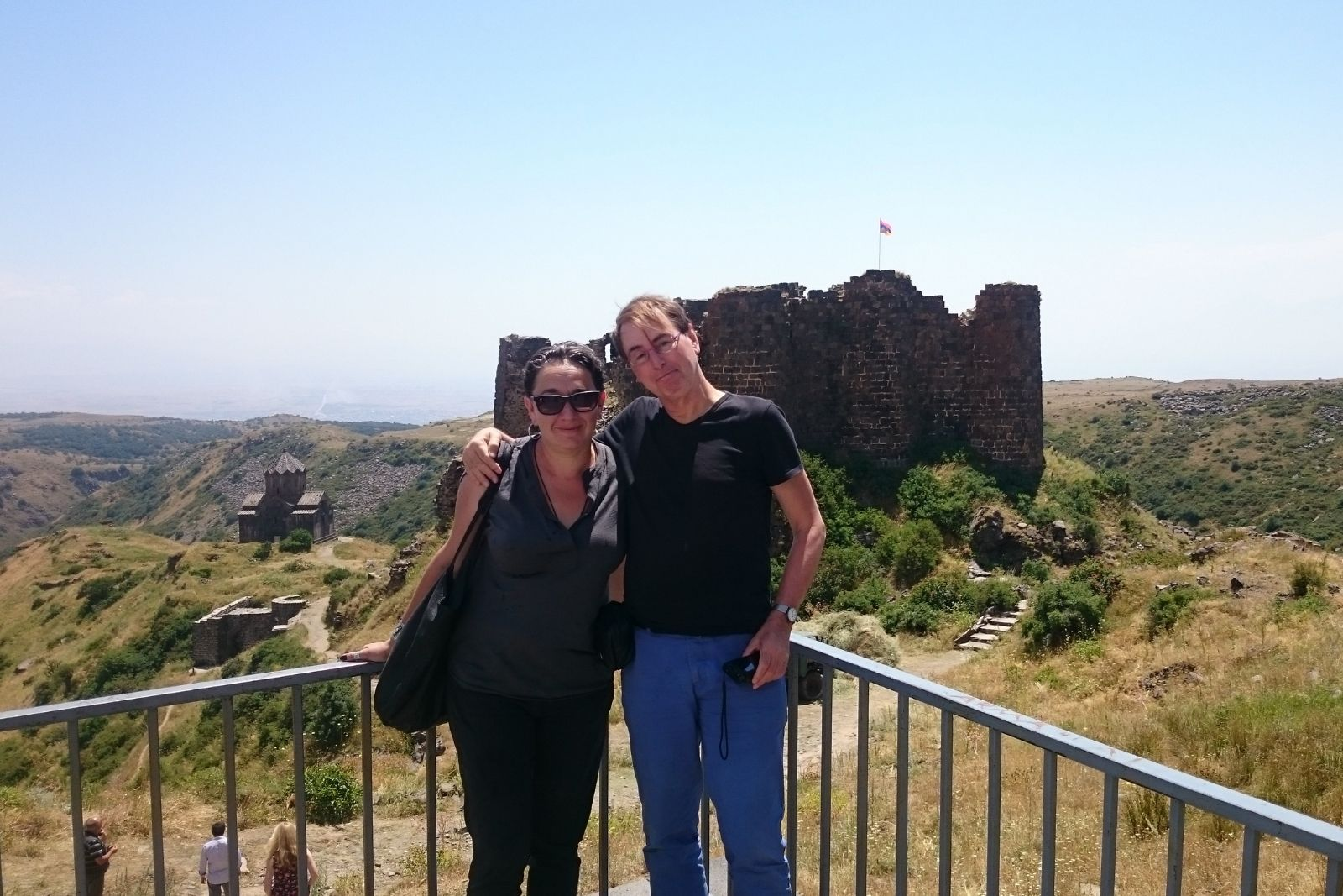 Armenian Studies summer school 2015 participants Yana Tchekhanovets and Rene Bekius at medieval fortress Amberd