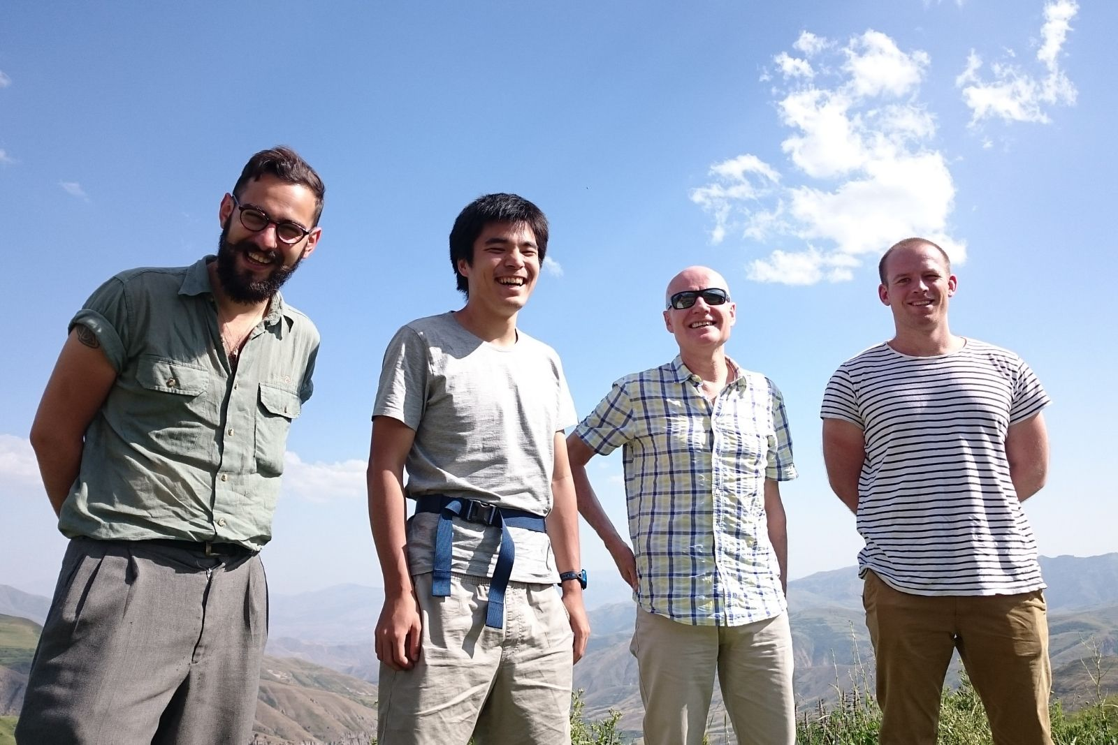 Participants of Armenian studies summer school 2016 in the mountains. From left to right: Nicholas Matheou, Chihiro Taguchi, John Wynter, Thomas Jurczyk