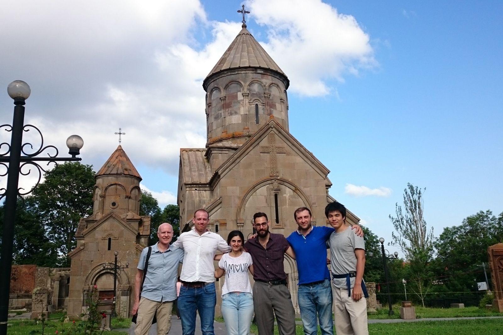 From left to right: John Winter, Thomas Jurczyk, Sona Mnatsakanyan (instructor of Armenian), Nicholas Matheou, Khachik Gevorgyan (Director of ASPIRANTUM), Chihiro Taguchi