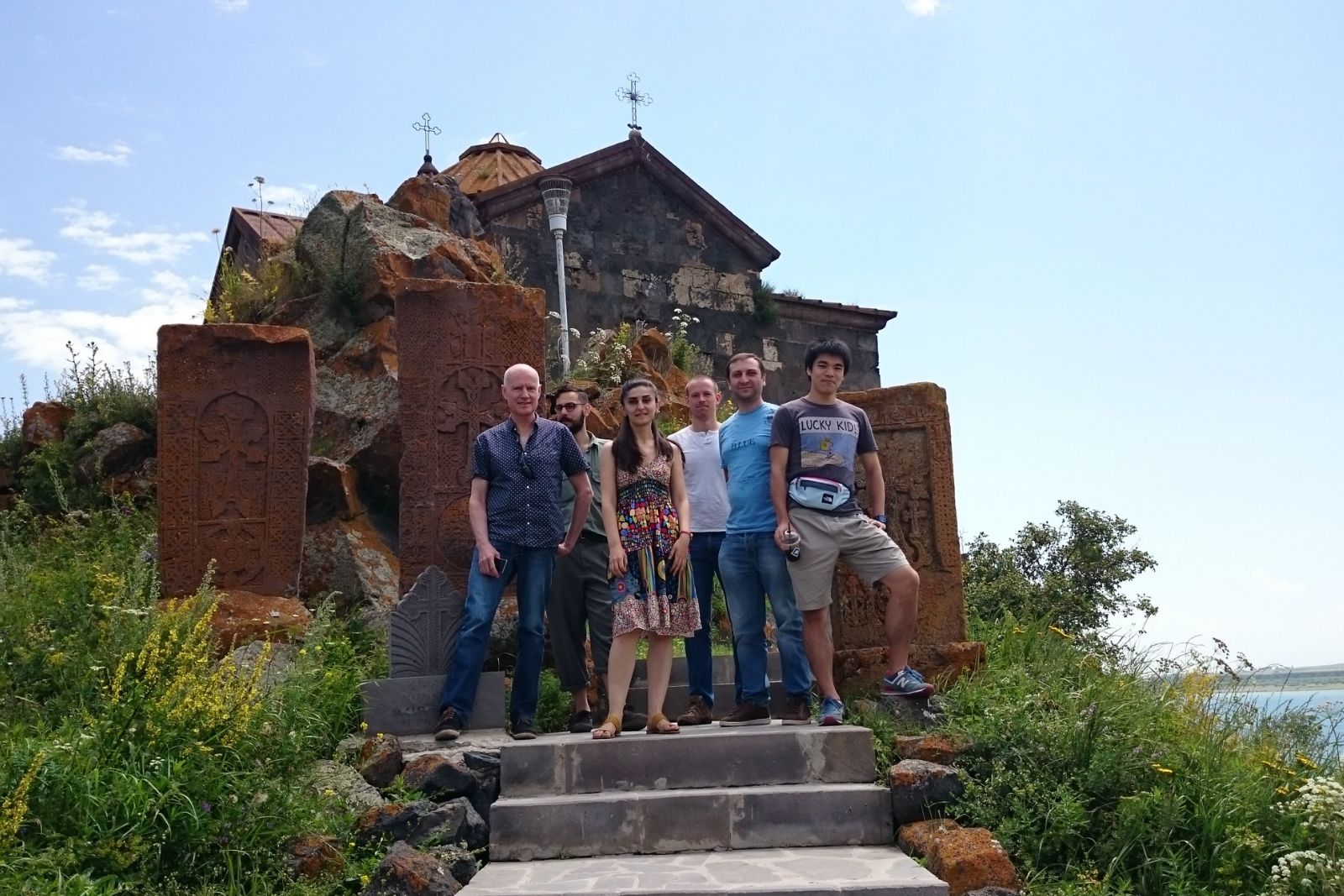 2016 Armenian Studies summer school participants at Hayravank monastery on lake Sevan