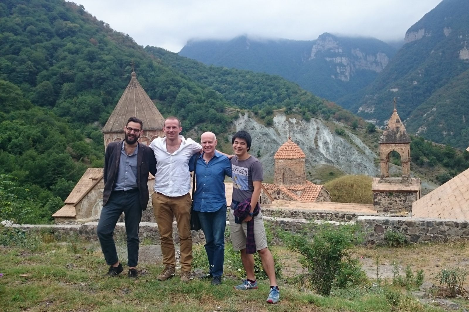 Participants of Armenian language summer school 2016 at Dadivank monastery. From left to right: Nicholas Matheou, Thomas Jurczyk, John Wynter, Chihiro Taguchi