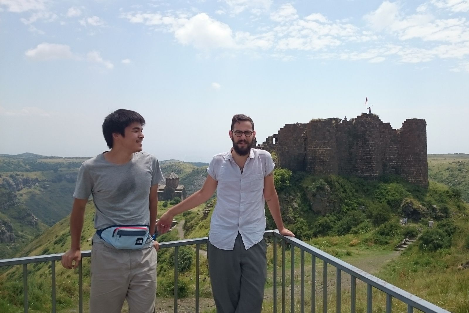 Participants of Armenian language summer school 2016 at Amberd fortress. From left to right: Chihiro Taguchi,	Nicholas Matheou