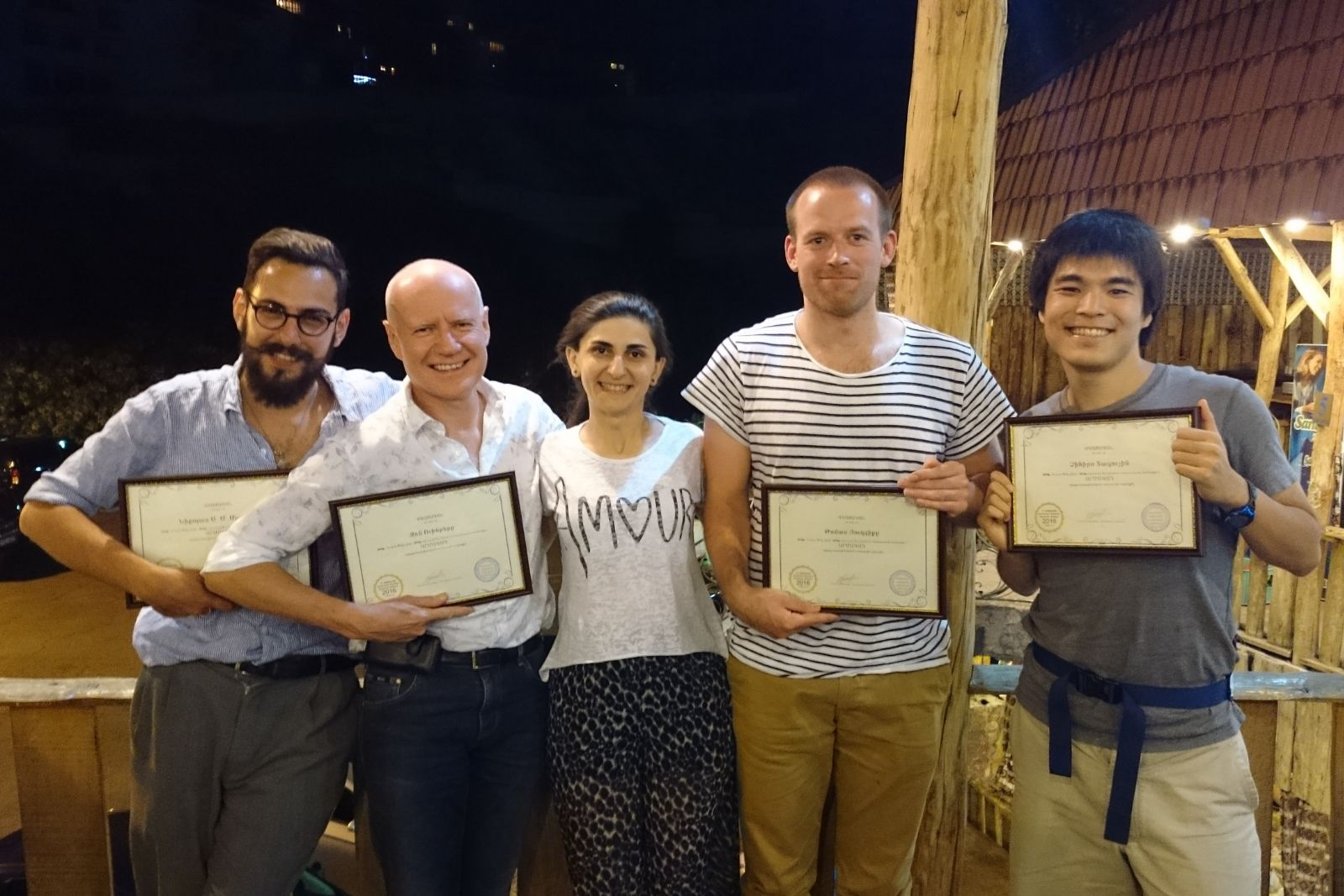 Participants of Armenian language summer school 2016 received their certificates. From left to right: Nicholas Matheou, John Wynter, Sona Mnatsakanyan (instructor of Armenian), Thomas Jurczyk, Chihiro Taguchi