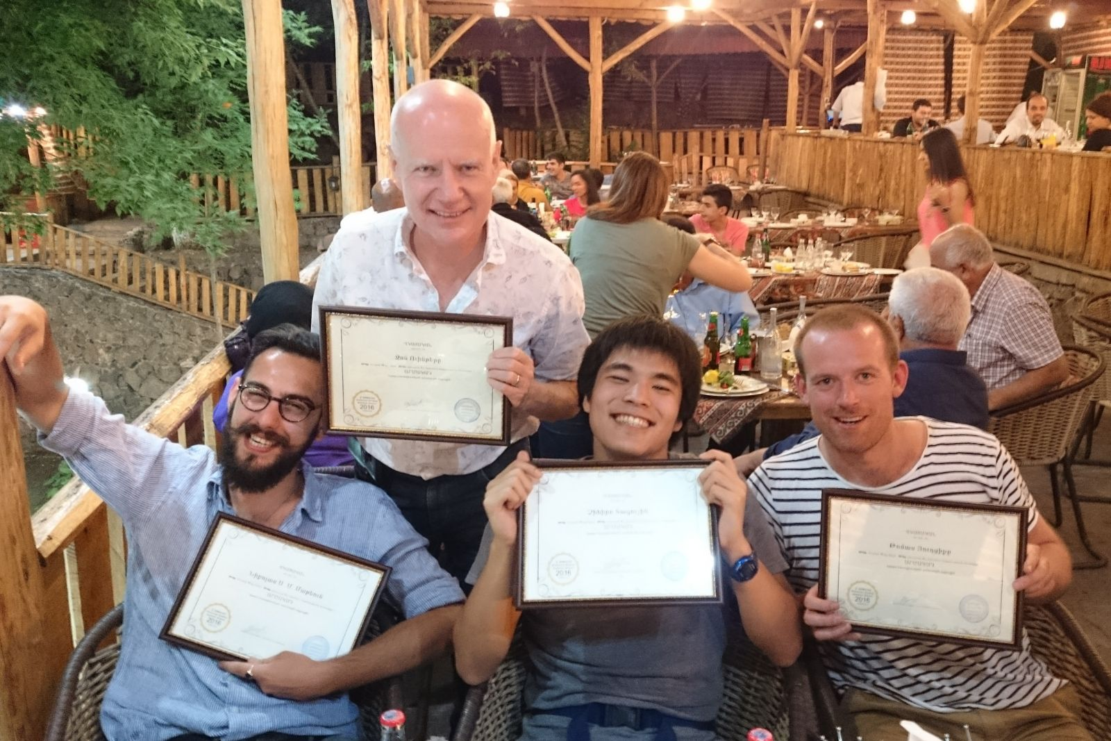 Armenian language summer school 2016 participants received their certificates. From left to right: Nicholas Matheou, John Wynter, Chihiro Taguchi, Thomas Jurczyk
