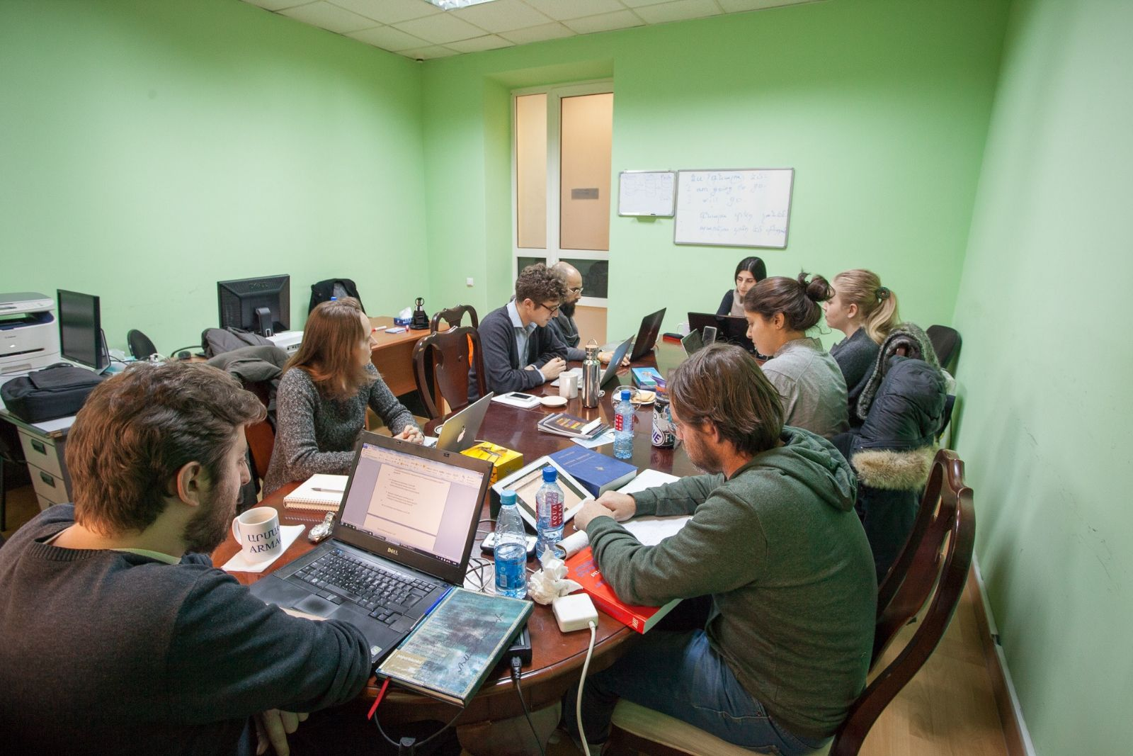 Participants of Armenian language winter school 2016 during the class