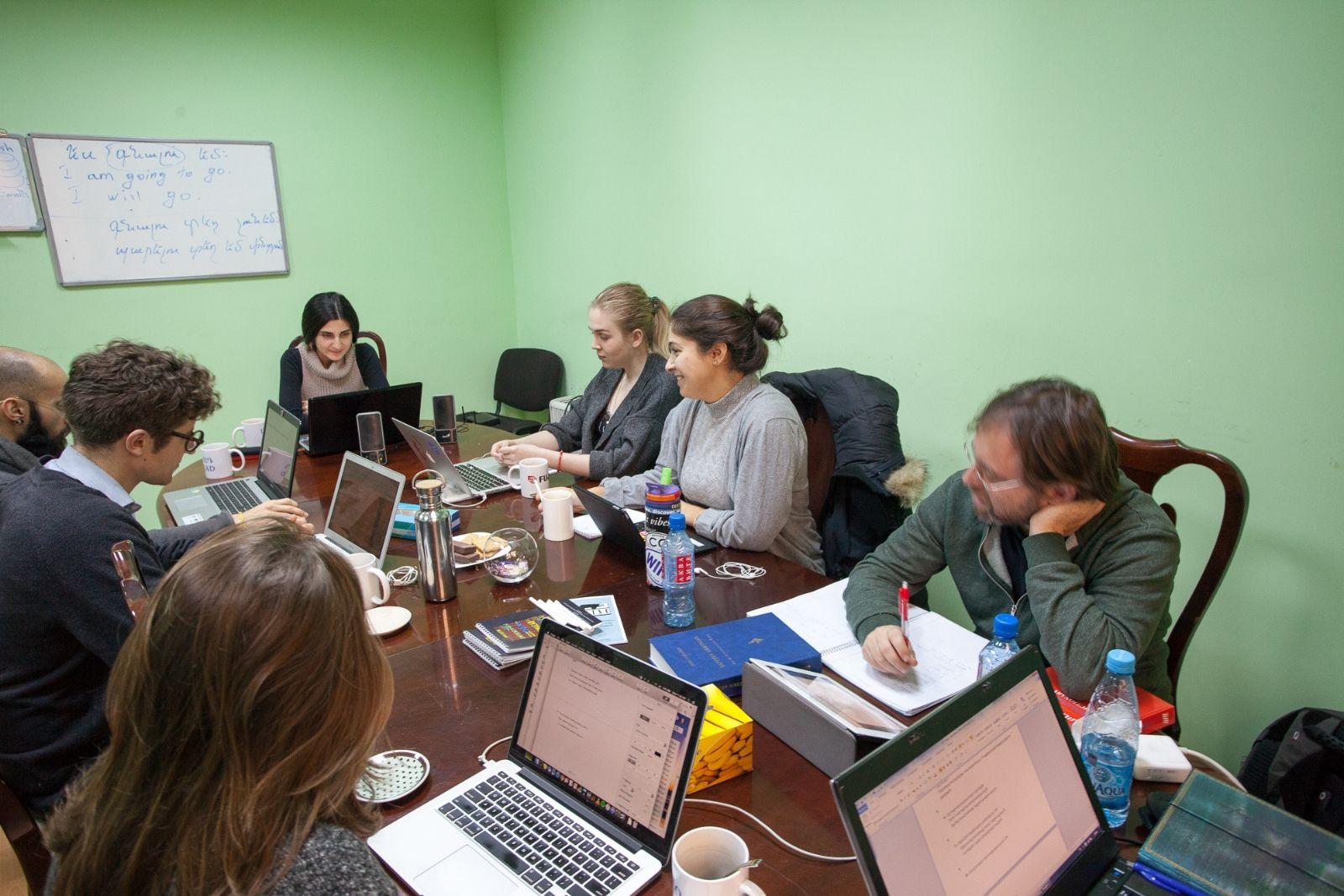 Armenian class during the Armenian language winter school 2016