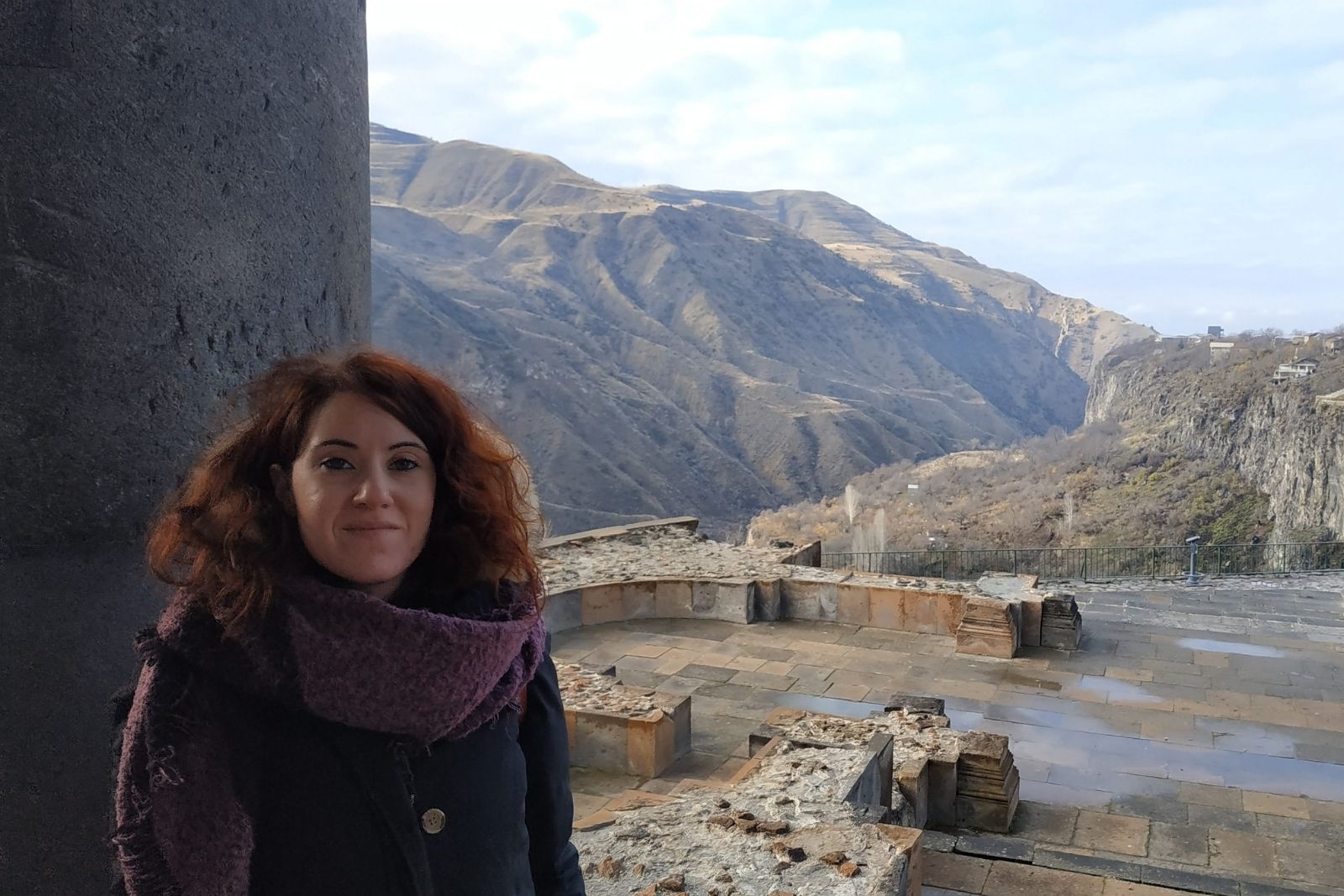 Participant of the Russian language winter school 2018 Valentina Bernardi at Garni temple in Armenia