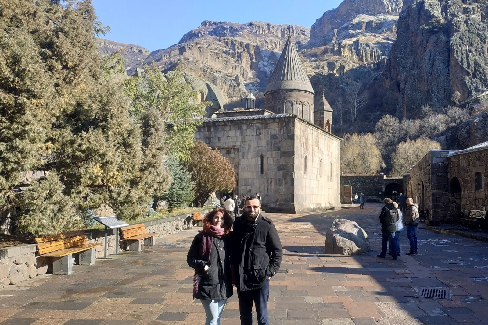 Participants of Russian language winter school 2018 Valentina Bernardi and Germán Moreno González at Geghard monastery
