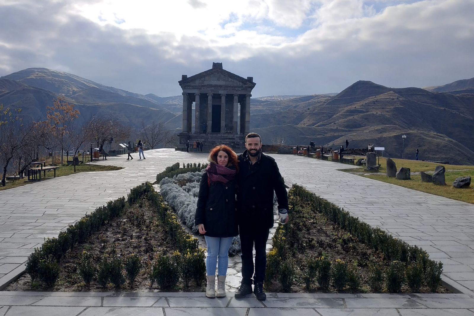 Participants of Russian language winter school 2018 Valentina Bernardi and Germán Moreno González at Garni temple