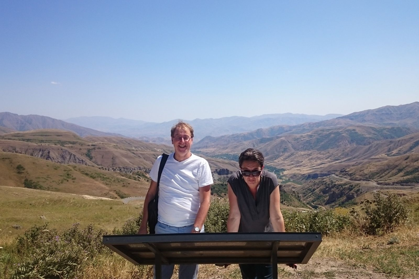 Armenian language summer school participants Rene Bekius and Yana Tchekhanovets at the Tsaghkunyats Mountain pass just next to Orbelian's Caravanserai